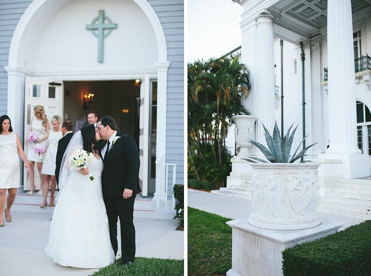 Bride and grrom kiss in front of Royal Poinciana Chapel
