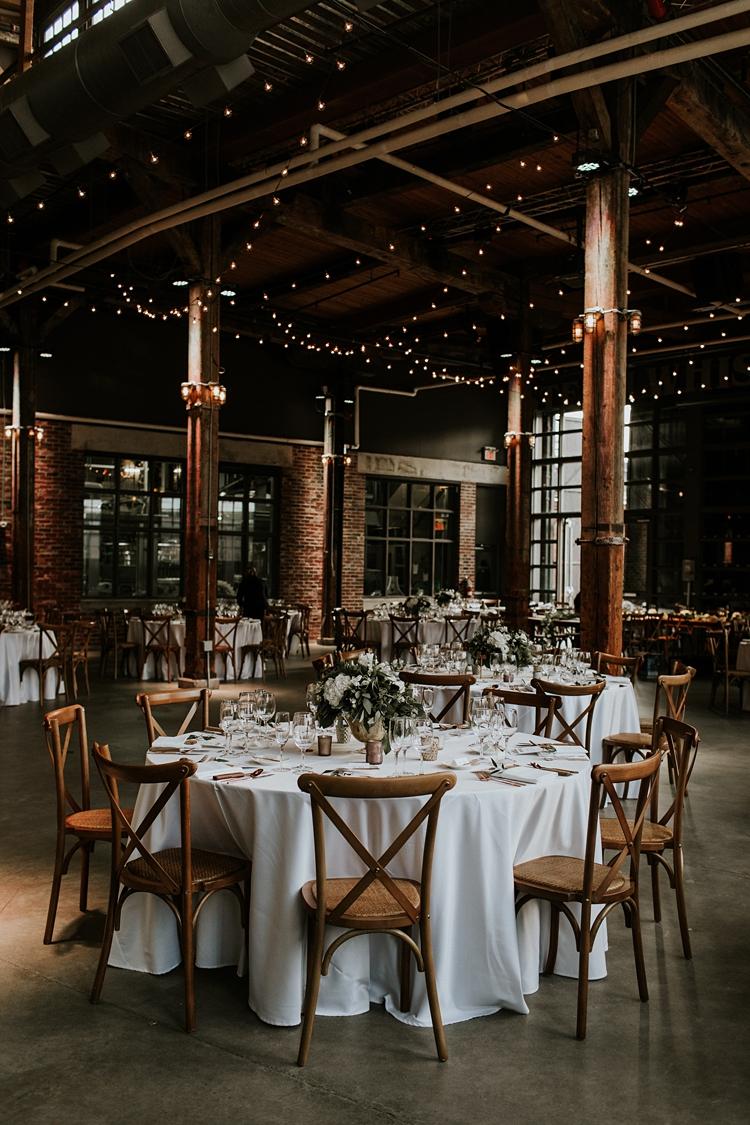 Stunning wedding decor at Steam Whistle in Toronto